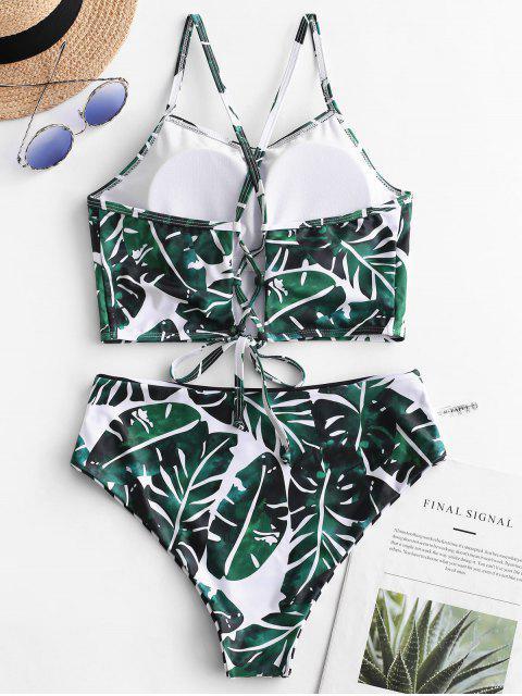 ZAFUL雙面棕櫚條紋繫帶Tankini泳衣 - 多-A XL Mobile