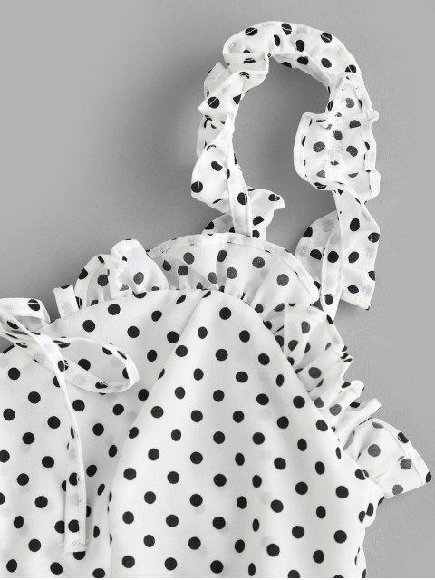 Robe Plissée à Pois à Volants - Blanc M Mobile