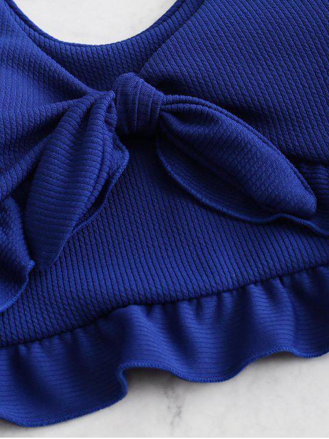 ZAFUL Maillot de Bain Tankini Côtelé Noué à Volants - Bleu Cobalt M Mobile
