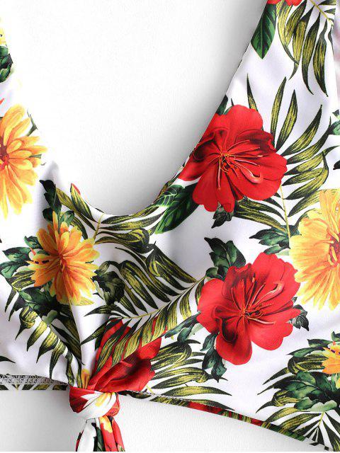ZAFUL Bañador Tankini con control de la panza con nudo floral - Multicolor-A XL Mobile