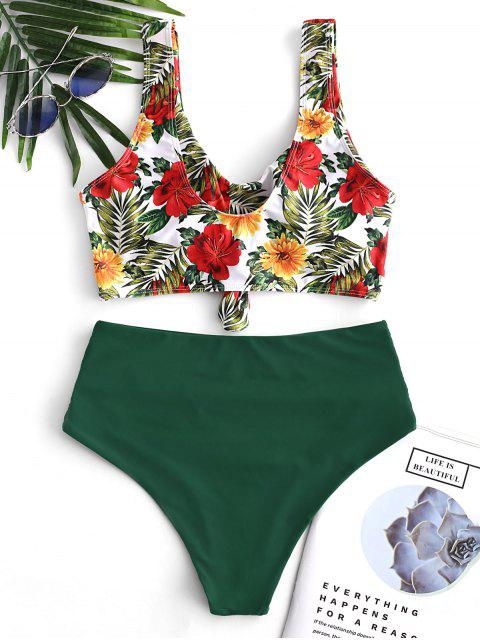 chic ZAFUL Floral Knotted Tummy Control Tankini Swimsuit - MULTI-A L Mobile
