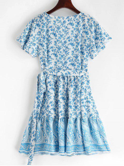 Robe Enveloppée Fleurie Imprimée à Col V à Volants - Bleu Cristal M Mobile