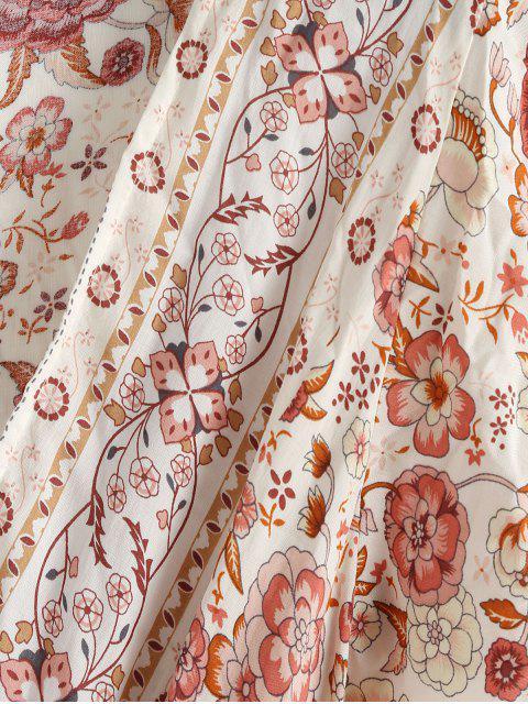 Robe cache-cœur à imprimé floral et encolure en V - Rouge à Lèvres Rose XL Mobile