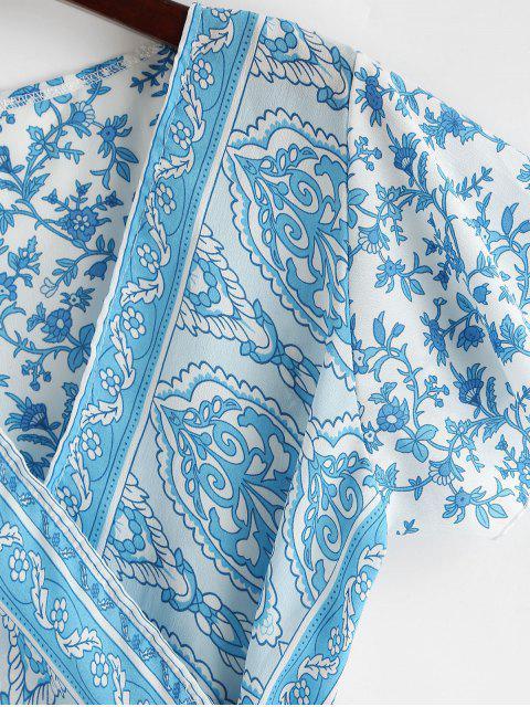 Robe Enveloppée Fleurie Imprimée à Col V à Volants - Bleu Cristal L Mobile