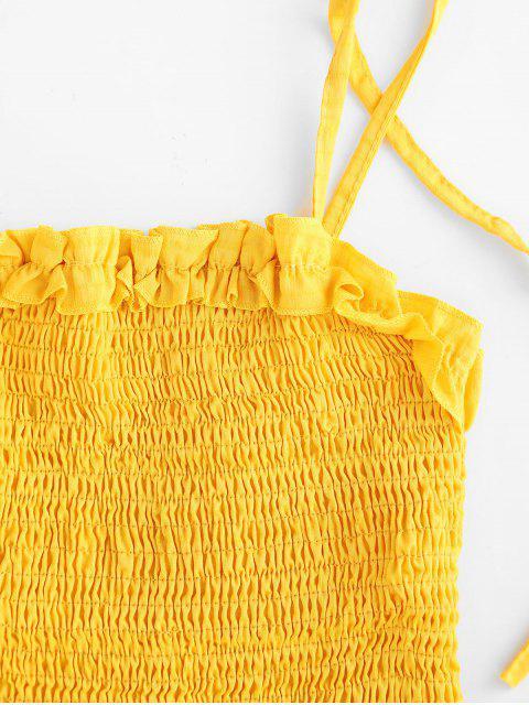 Robe Plissée à Epaule Nouée en Couleur Unie à Volants - Jaune d'Abeille XL Mobile