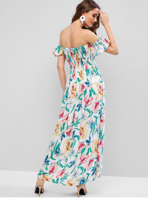 Robe Haute Bassse Fleurie à Epaule Dénudée à Volants - Blanc S Mobile