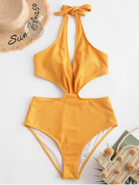 latest ZAFUL Halter Ribbed Monokini Swimsuit - GOLDEN BROWN L Mobile