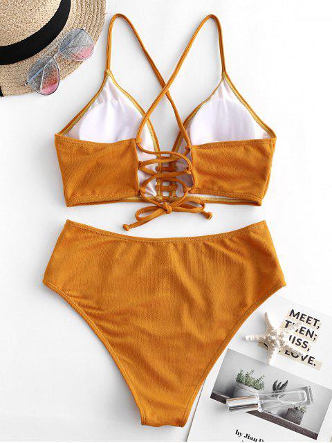 online ZAFUL Textured Crisscross High Cut Tankini Swimsuit - ORANGE GOLD S Mobile