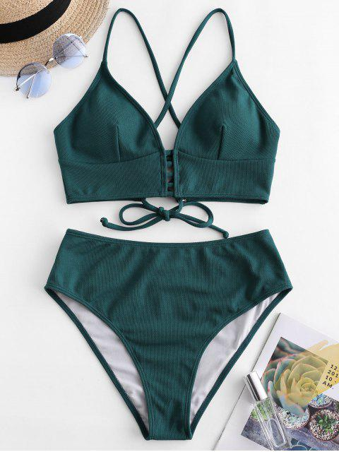 women ZAFUL Textured Crisscross High Cut Tankini Swimsuit - DARK GREEN M Mobile