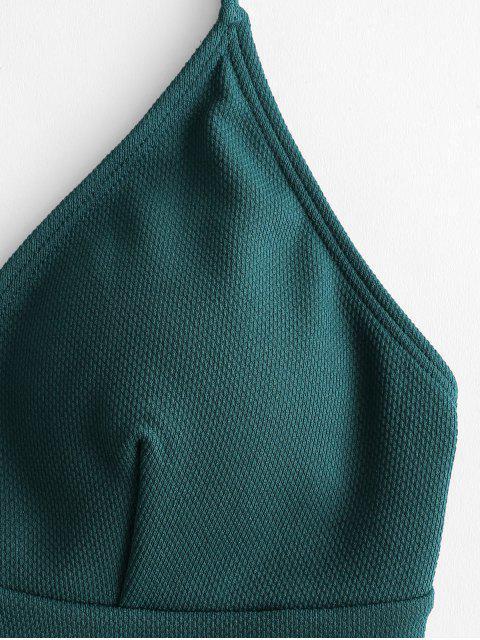 shop ZAFUL Textured Crisscross High Cut Tankini Swimsuit - DARK GREEN L Mobile