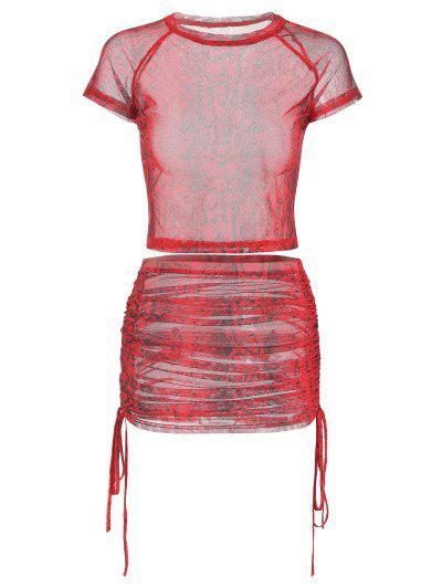bed15ba57 Snakeskin Print Cinched Mesh Skirt Set - Chestnut Red S ...