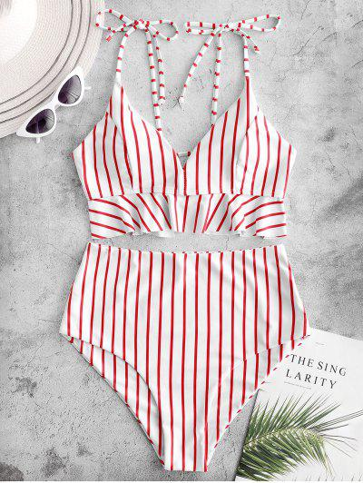 ZAFUL Striped Ruffle Lace Up Tie Shoulder Tankini Swimwear