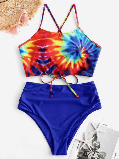 ZAFUL Ruched Crisscross Spiral Tie Dye Print Tankini Swimsuit - Cobalt Blue 2xl