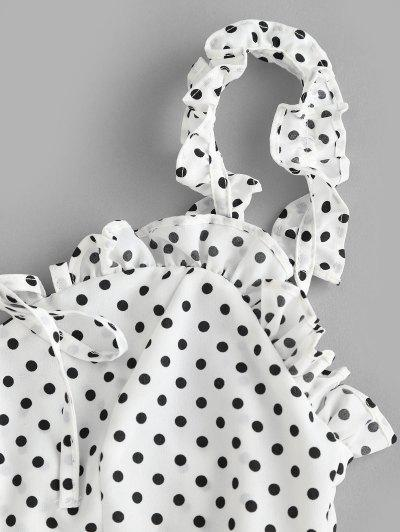Smocked Polka Dot Ruffle Straps Dress, White