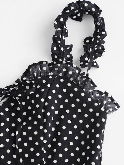 Smocked Polka Dot Ruffle Straps Dress, Black