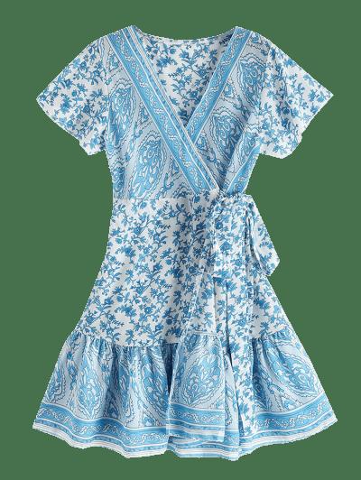 V Neck Ruffles Floral Print Wrap Dress, Crystal blue