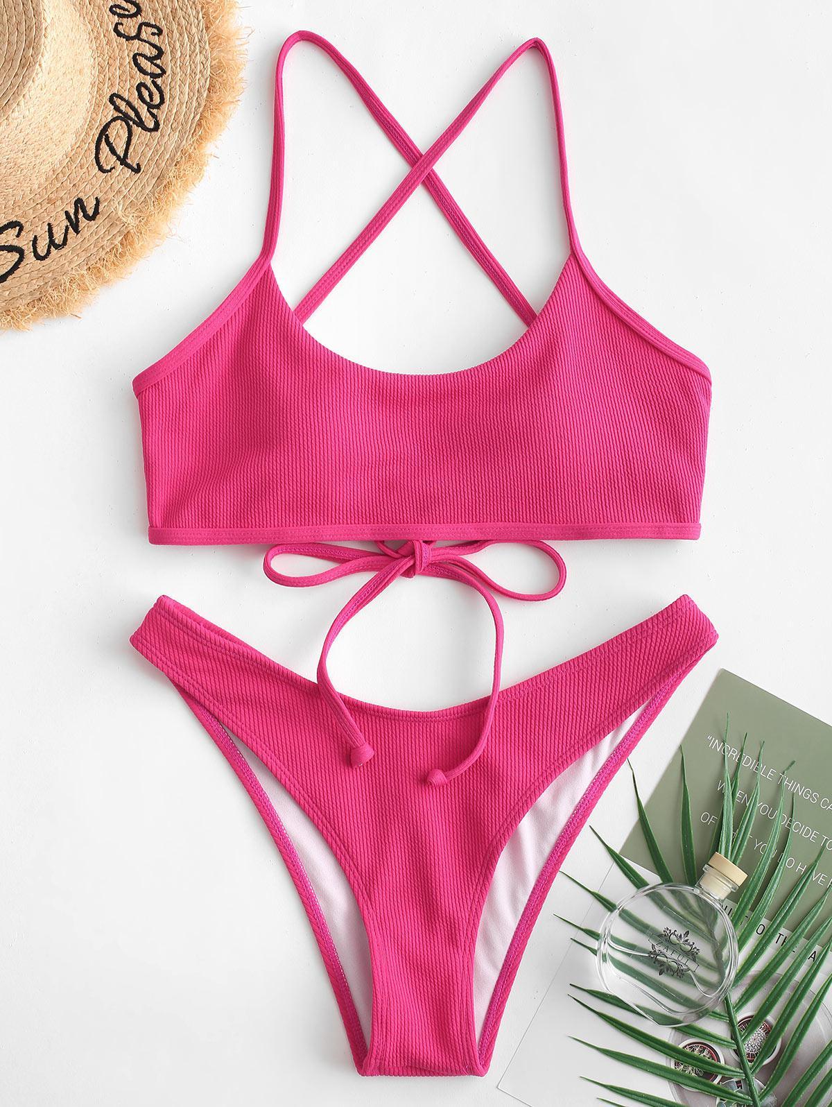 ZAFUL Ribbed Lace-up High Leg Bikini Swimsuit thumbnail