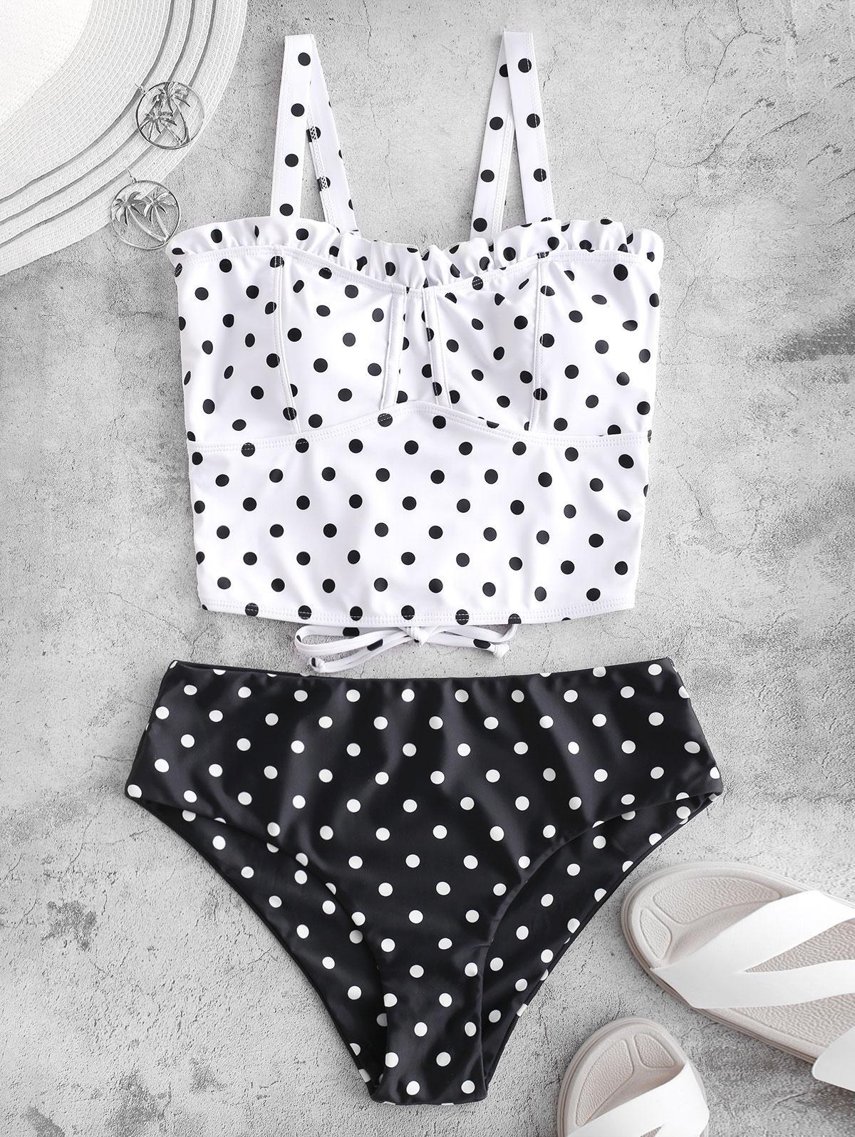 ZAFUL Polka Dot Ruffle Lace Up Tankini Swimsuit, Multi-a