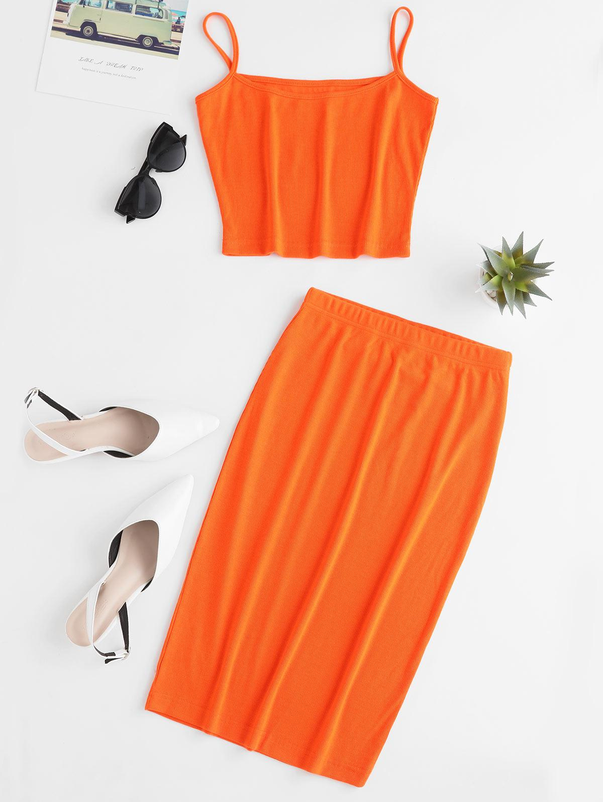 ZAFUL Cropped Ribbed Cami Top And Skirt Set, Orange