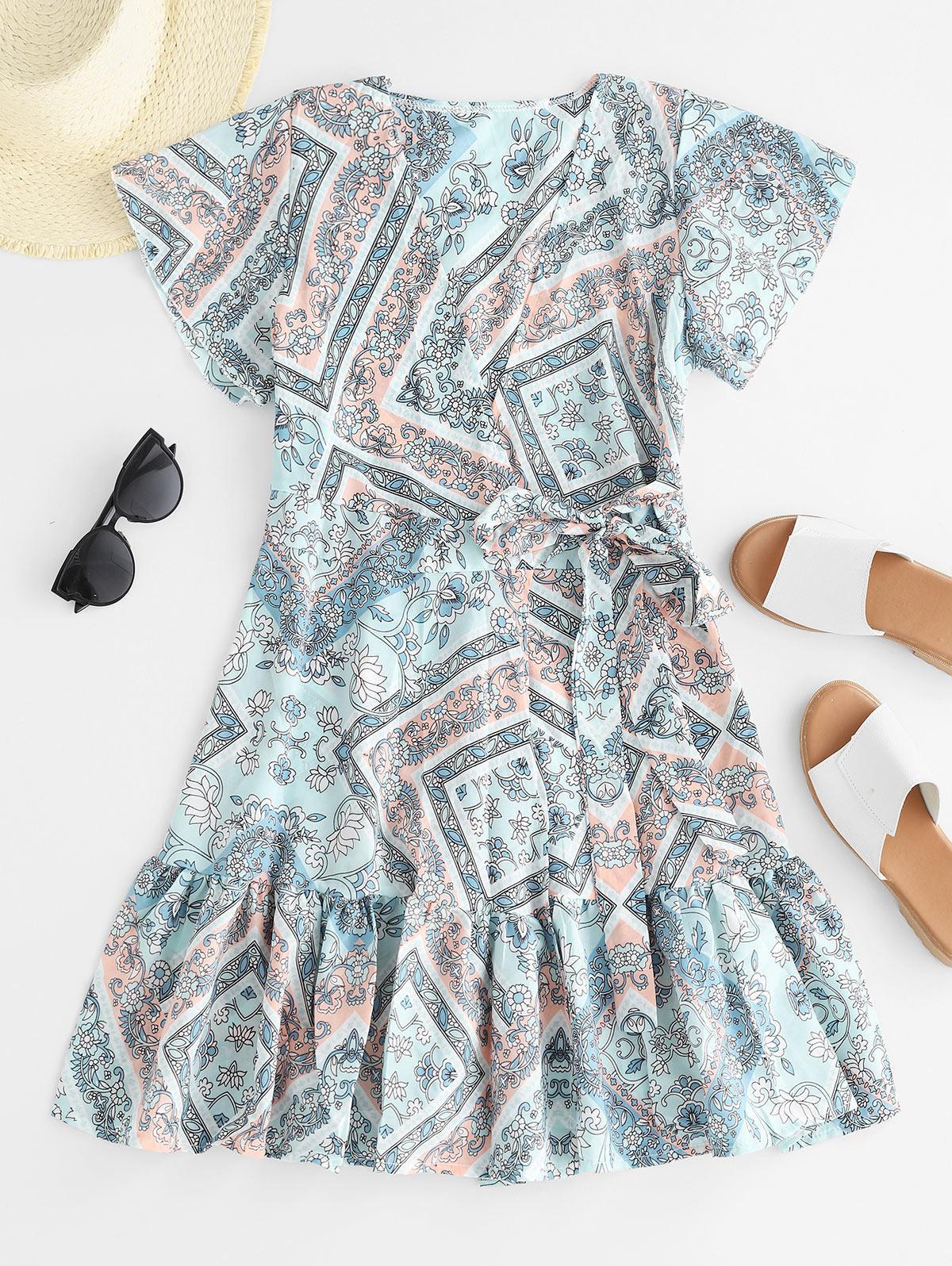 Floral Print Ruffle Hem Mini Wrap Dress, Blue hosta