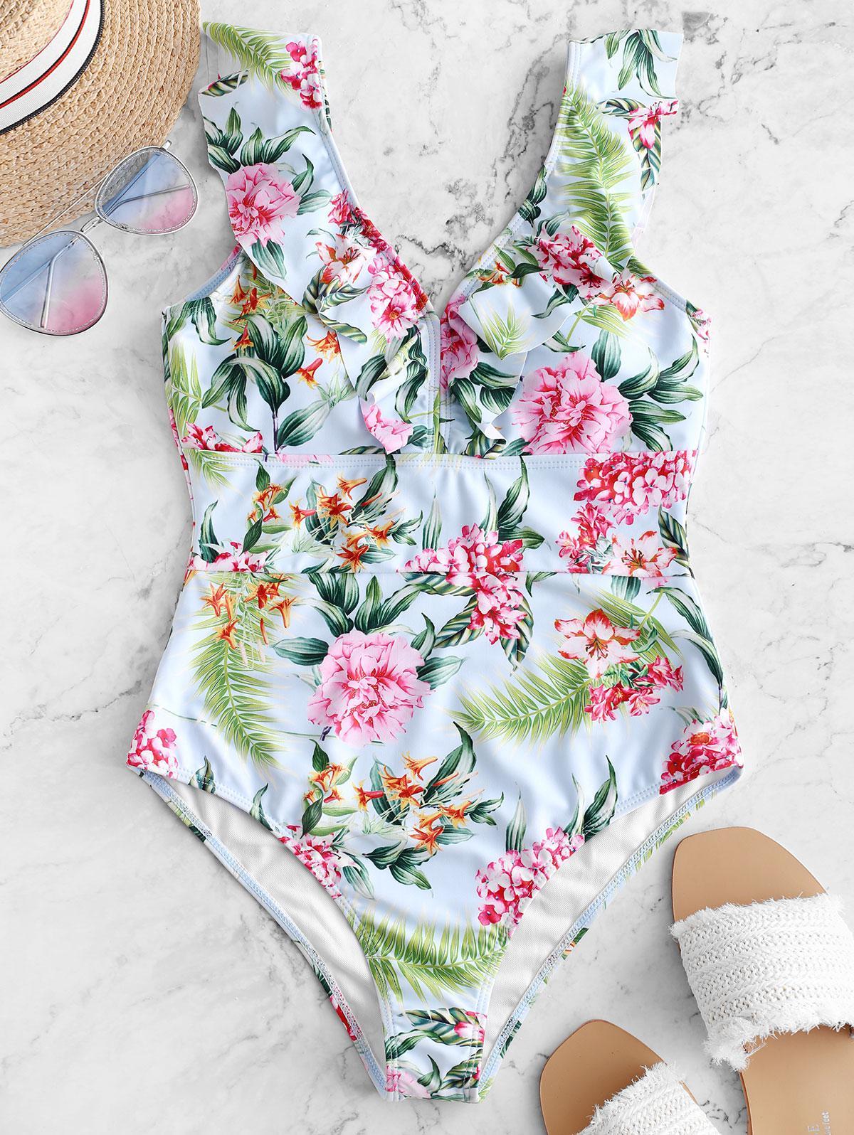 ZAFUL Flower Leaf Print Ruffle Plunging Swimsuit, Multi-a