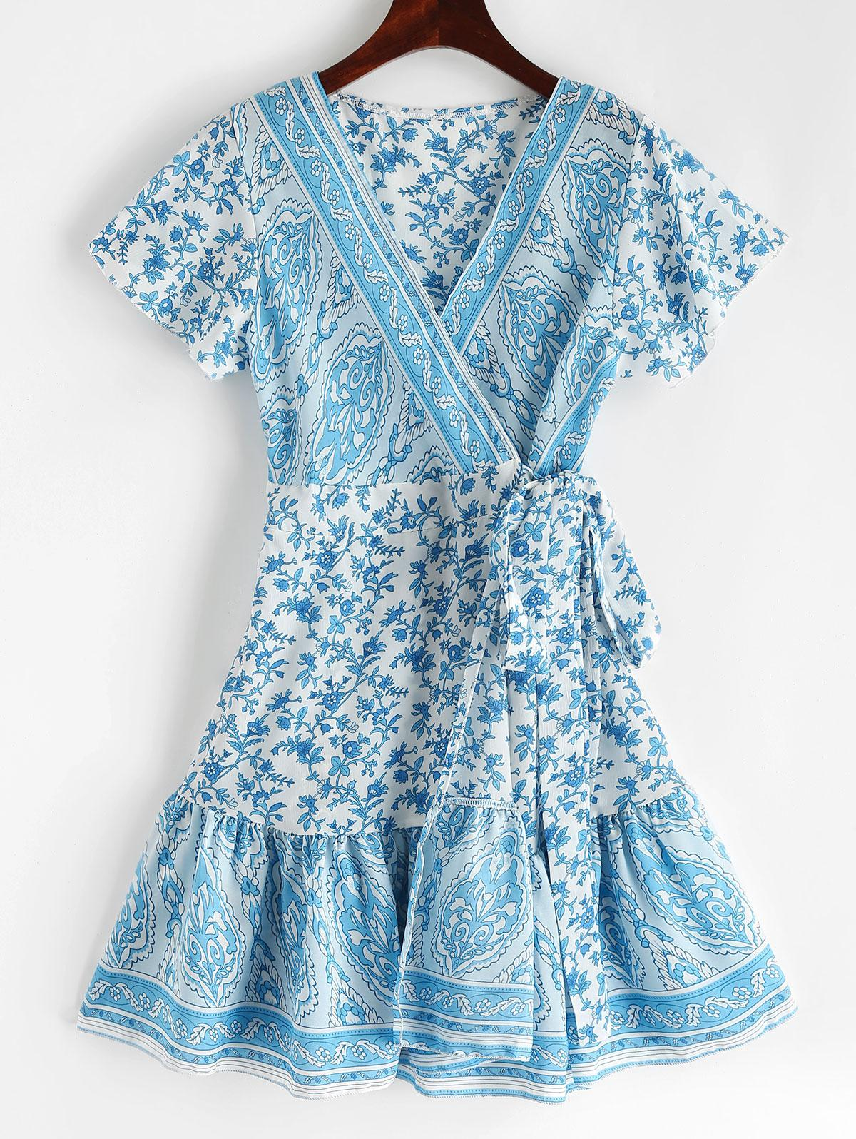 V Neck Ruffles Floral Print Wrap Dress, Crystal blue