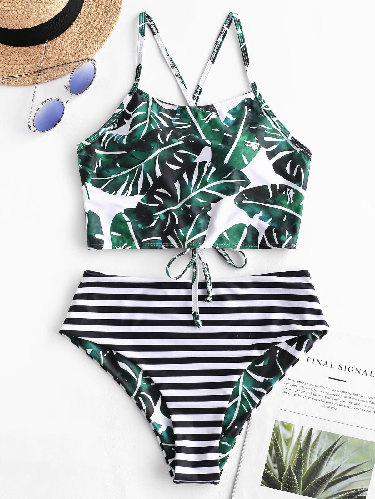 ZAFUL Reversible Palm Striped Lace Up Tankini Swimsuit thumbnail