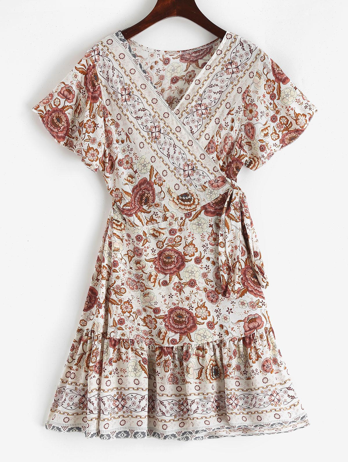 V Neck Ruffles Floral Print Wrap Dress, Lipstick pink