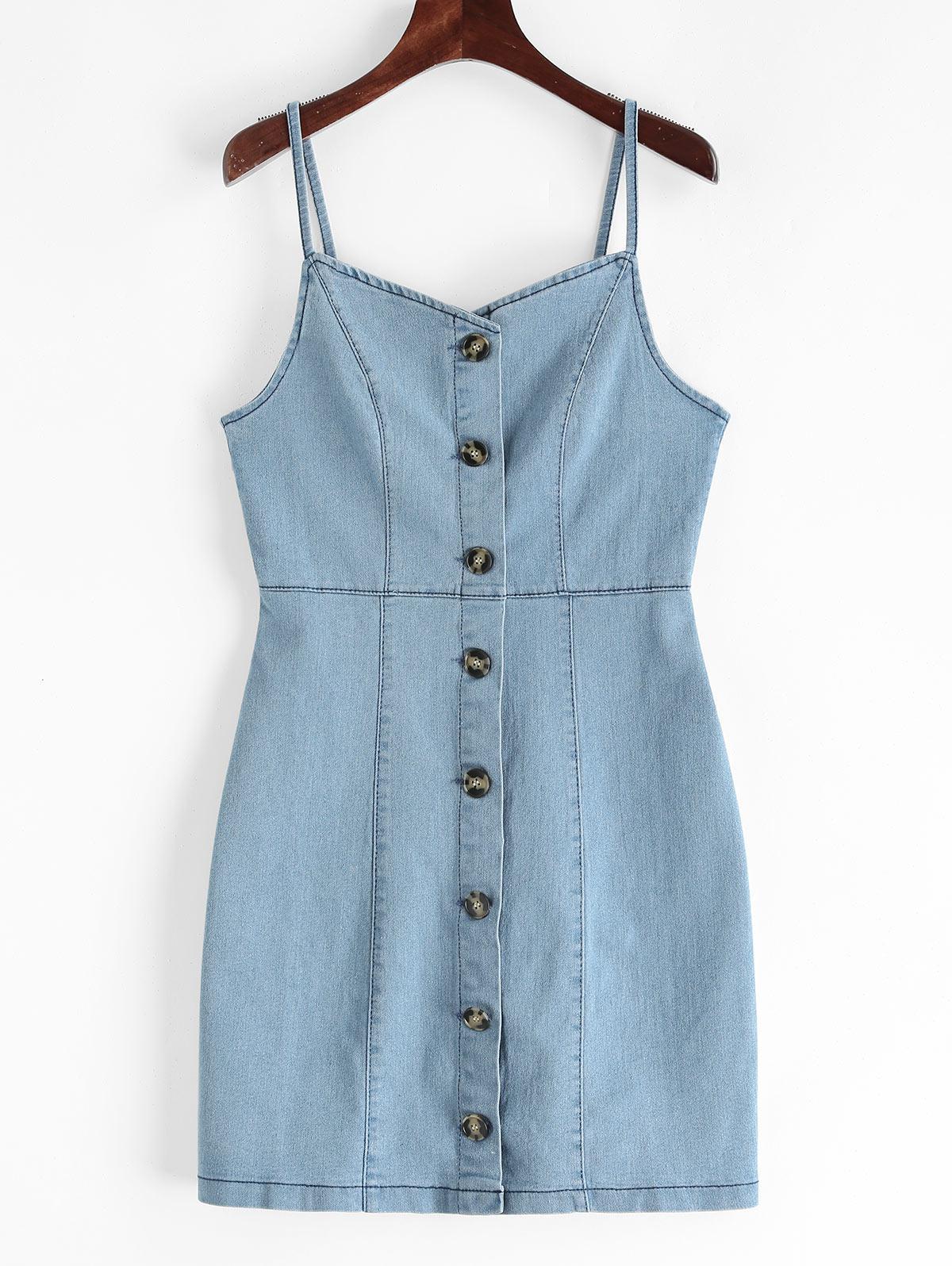 Button Up Sheath Denim Cami Dress, Jeans blue
