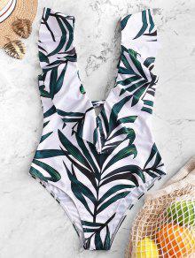 ZAFUL ورقة طباعة كشكش اغراق ملابس السباحة - متعددة-a L