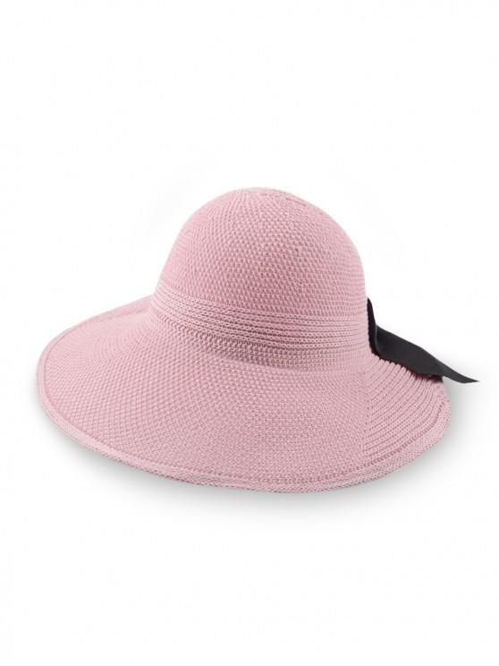 women's Bowknot Knitted Wide Brim Visor Cap - PINK REGULAR