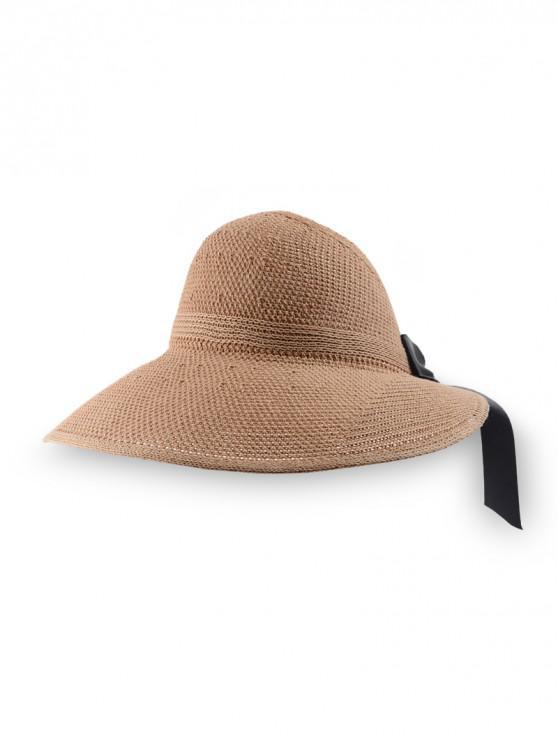 Gorra de visera de ala ancha de punto bowknot - Caqui Oscuro Regular
