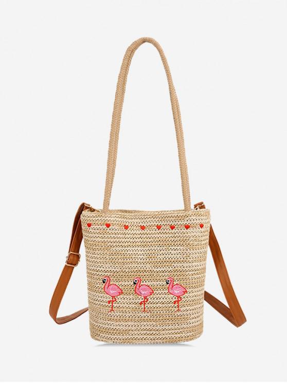 best Flamingo Heart Embroidery Shoulder Bag - TAN
