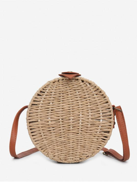 affordable Casual Round Straw Shoulder Bag - TAN