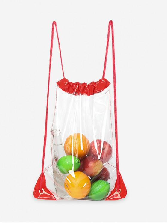 e26a4985b7997 32% OFF] 2019 Hit Color Transparent PVC Drawstring Backpack In ROSSO ...