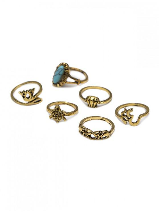 hot 6 Piece Ethnic Crown Turtle Shell Elephant Ring Set - GOLD
