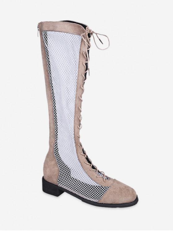 outfit Mesh Panel Lace Up Knee High Boots - LIGHT KHAKI EU 35