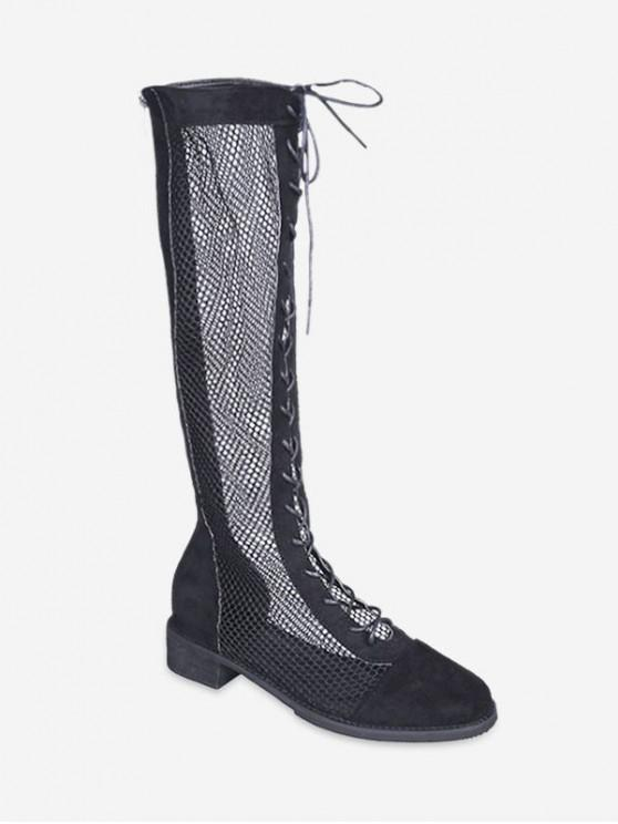 f5e0f63c2d0a0 40% OFF] 2019 Mesh Panel Lace Up Knee High Boots In BLACK | ZAFUL ...