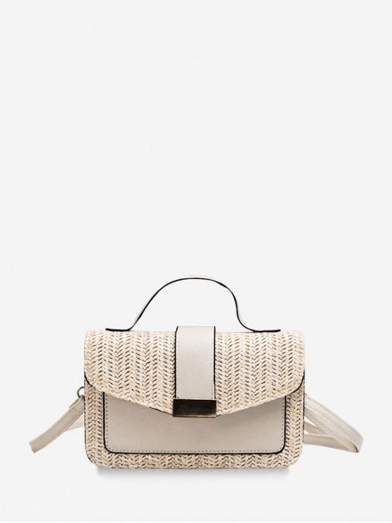 womens Flap Patch Straw Square Bag - WARM WHITE