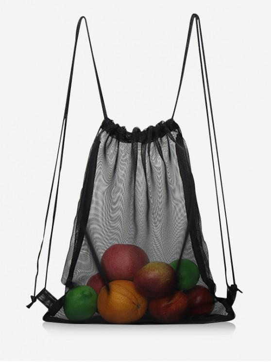 ladies Shell Mesh Drawstring Backpack - BLACK