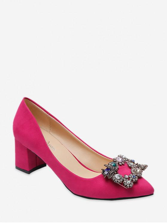 fancy Diamante Square Buckle Chunky Heel Pumps - ROSE RED EU 37