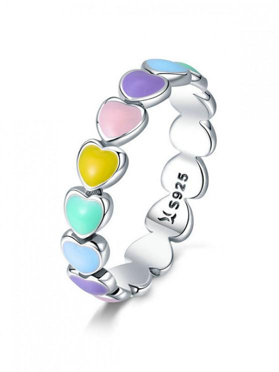 ladies Love Heart 925 Silver Colorful Ring - MULTI-A US 6