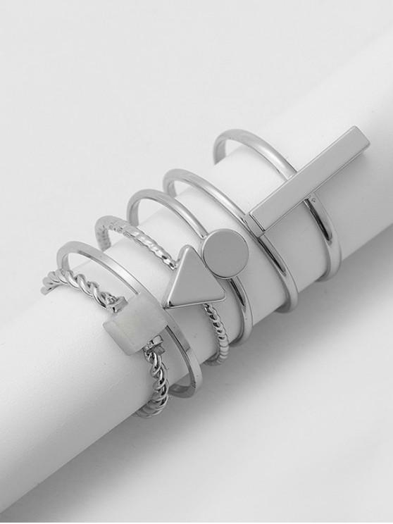 6 piezas de anillo de piedra geométrica breve conjunto - Plata