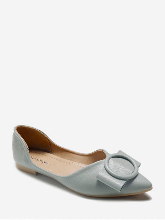 shops Bowknot Design Slip-on Flat Heel Shoes - MACAW BLUE GREEN EU 40