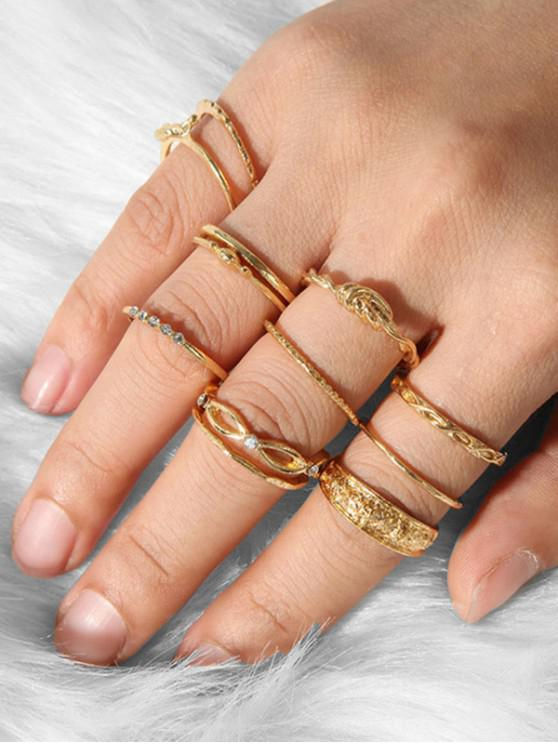 chic 12Pcs Carved Knot Rhinestone Ring Set - GOLD