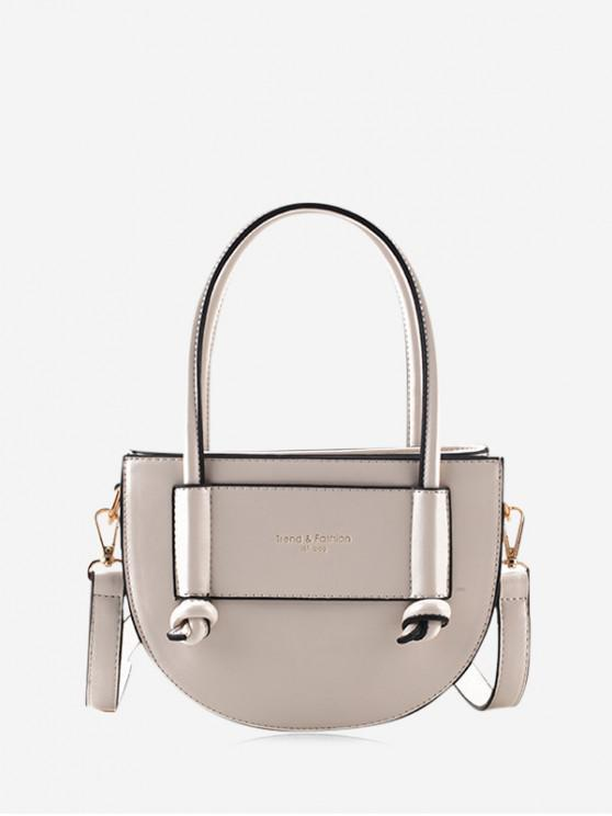 sale Leather Semi-circle Shape Shoulder Bag - WHITE