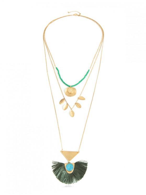 lady Bohemian Tassel Multi-layer Long Chain Necklace - GREENISH BLUE