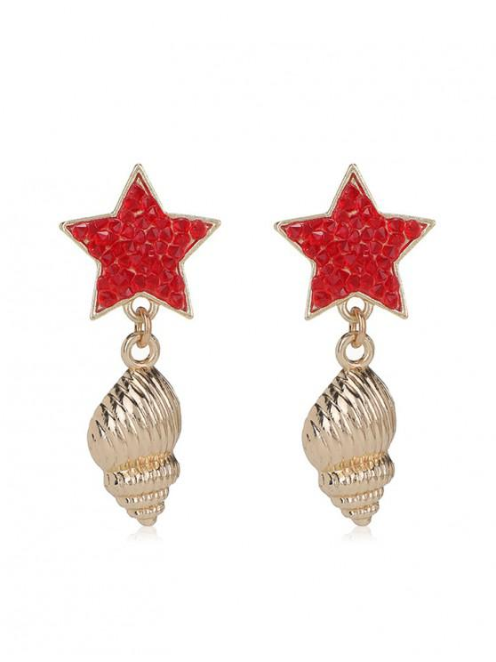 outfits Sea Nail Star Pattern Earrings - RED
