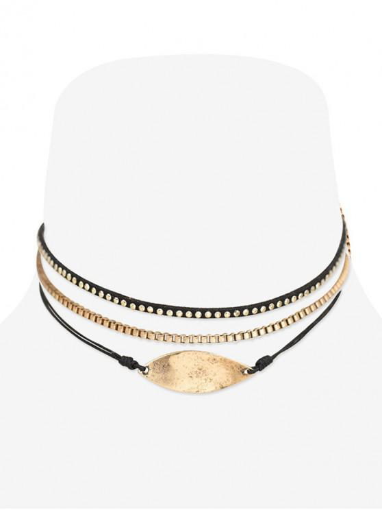 fancy Simple Diamante Multi-layer Choker Necklace Set - GOLD
