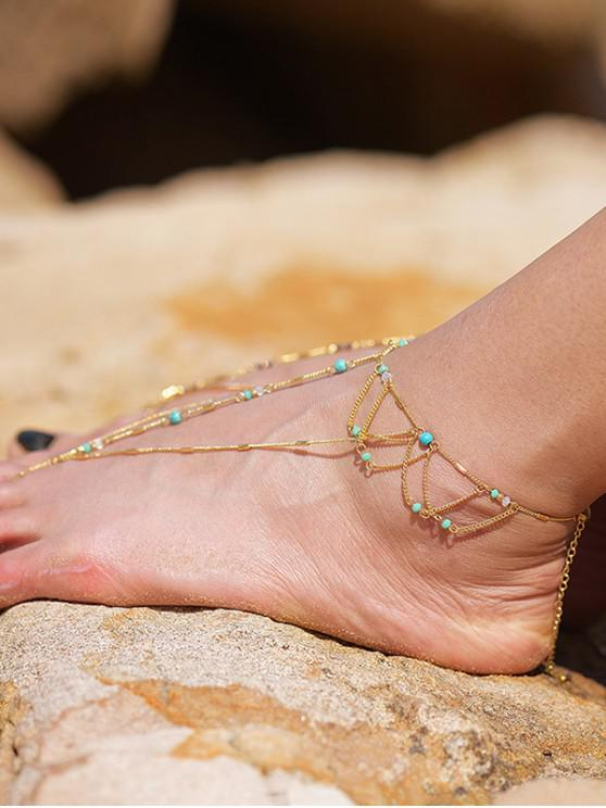 unique Bohemian Toe Ring Turquoise Beads Anklet - GOLD